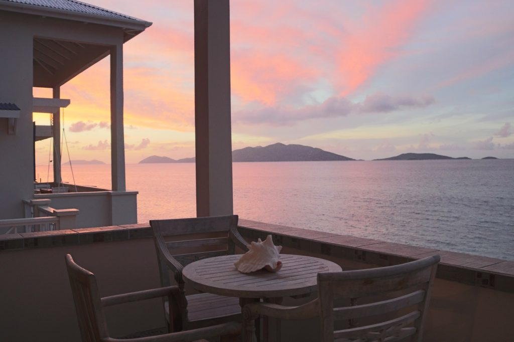 Tortola Sunset on the Patio at Applesurf Sea Breeze Suite